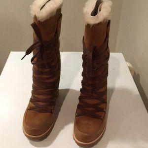 ce68b7a1369 New Ugg Mason Tall wedge Chestnut boots Sz 10 ❤️🌹 NWT